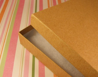 50 Pack Cotton Filled Kraft Brown Color Jewelry Gift and Retail Boxes 6.15 X 5.15 X 1 Inch Size