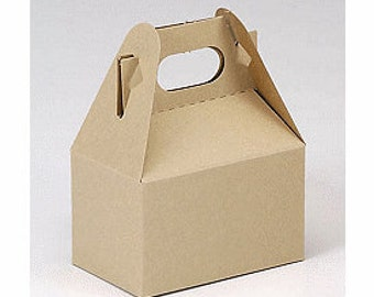 6 Pack Kraft Mini Gable Style Boxes 4 X 2.5 X 2.5 Inches Perfect for gifts, food, and party packaging