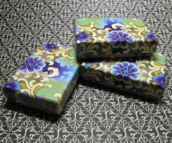 10 Pack Blue and Purple Design Origami Style Floral Pattern 3.25X2.25X1 Inch Sized Cotton Filled Jewelry Presentation Boxes
