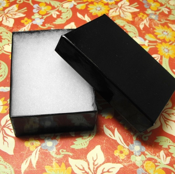 100 Pack Black Cotton Filled Jewelry Retail Gift Box 3.25 X 2.25 X 1 Size Wholesale