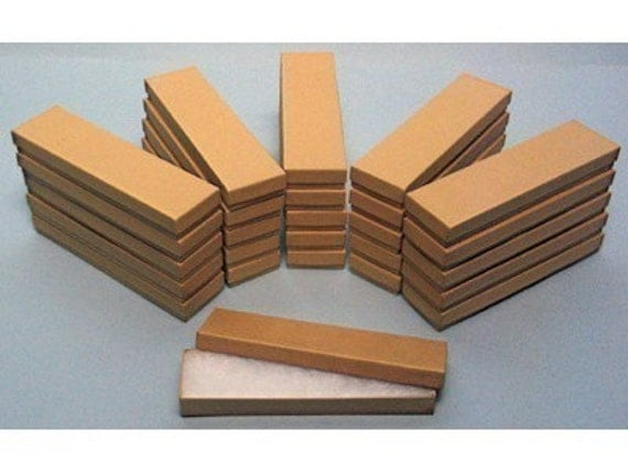 20 Pack Kraft Cotton Filled Presentation Jewelry Boxes 8 X 2 X 1 Inch Size
