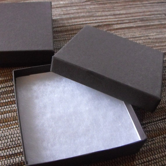 10 Pack 3.5 X 3.5 X 1 Inch Chocolate Brown Size Cotton Filled Jewelry Presentation Gift Boxes