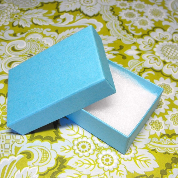 20 Pack Matte Light Blue 2.65 x 1.55 x .85  Inch Sized Cotton Filled Jewelry Presentation Boxes