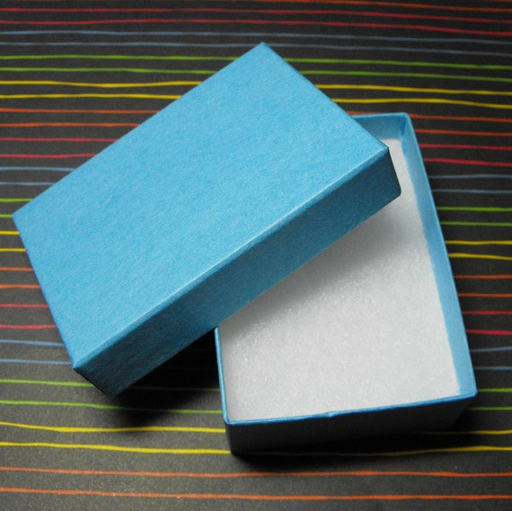 10 Pack Matte Light Blue Kraft 3.25X2.25X1 Inch Cotton Filled Jewelry Gift Retail Boxes