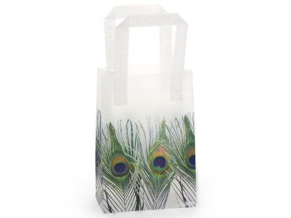 100 Pack White Frosted Handle Style Plastic Peacock feather Design Tote retail Bags