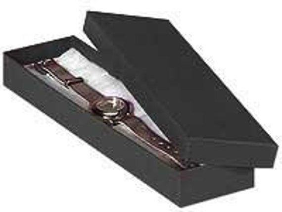 100 Pack Matte Black Kraft Color Cotton Filled 8X2X1 Inch Size Retail Jewelry Gift Presentation Boxes