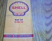 Vintage Shell Oil Ohio State Road Map Lithographed by HM Gousha