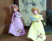 Pair Josef Originals Figurines Young Ladies 7 inches Tall