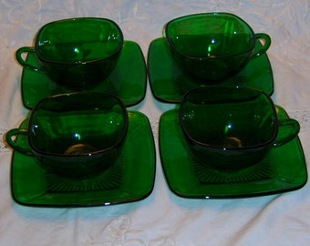Anchor Hocking Charm Cups and Saucers in Forest Green