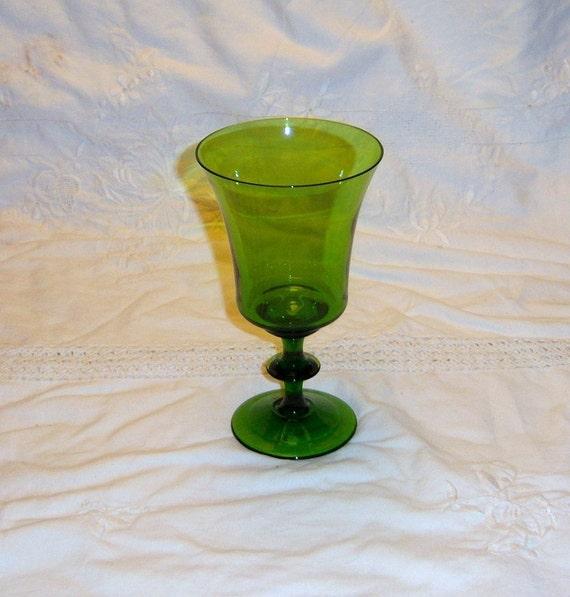 2 Vintage Emerald Green Wine  Goblets RESERVED FOR DAHLUSH