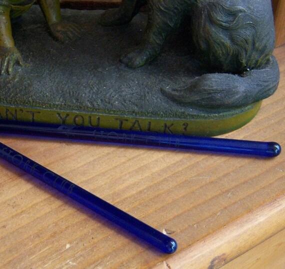 2 Vintage Stork Club Cobalt Blue Glass Swizzle Sticks HTF