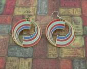 Mod Americana vintage 1980's dangle hook earrings
