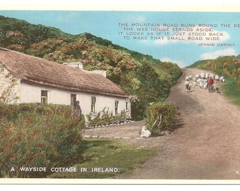 Vintage postcard/  A wayside cottage in Ireland