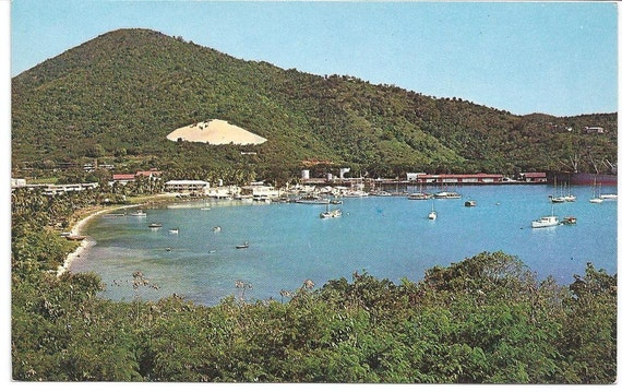 Vintage postcard/  Yacht Haven/ St Thomas virgin islands
