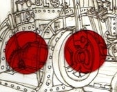 Red 2 inch steampunk goggle lenses