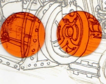 Orange Steampunk Goggle Lenses