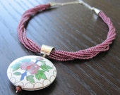 Cloisonne pendant, garnet  strands and sterling silver necklace - ready to ship