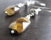 Faceted Tiger Eye and Sterling Silver Earrings, rustic boho, golden tiger eye, natural gemstone, sterling filigree beads - ready to ship