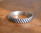 Sterling silver diagonal stripe ring, men's or women's wedding band, unisex, stacking ring, size 6.5, modern rustic - ready to ship