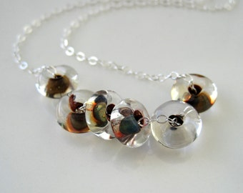 Lampwork glass bead necklace on a sterling chain, modern, simple, glass rings, slider necklace, layer necklace, Fruit Loops - ready to ship