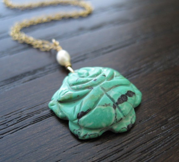 Green carved natural stone flower pendant necklace - ready to ship