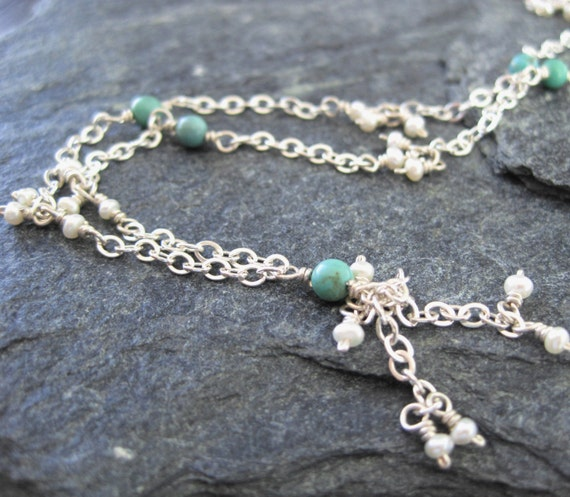 Turquoise, seed pearl and sterling silver tassel necklace