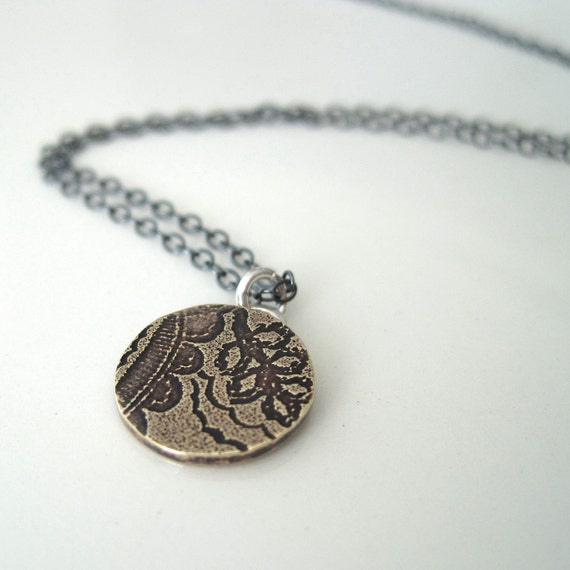 Tiny etched brass medallion necklace with a paisley pattern, boho chic, vintage feel, layer necklace, gift - ready to ship