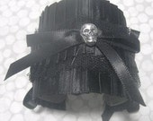 Gothic Skull Bow Cuff Bracelet, Torture Couture, Black, Lolita, Cosplay