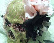 Vixen Doll Fascinator, Pink / Black, Rose Fascinator, Torture Couture