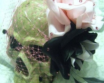 Vixen Doll Fascinator, Pink / Black, Rose Fascinator, Torture Couture