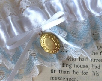 Mon Amour   Something Blue Bridal Garter, White Satin, Blue and White Vintage Lace, Brass Locket and Bow, Handmade Wedding - Ready to Ship