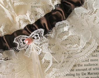 Ma Cherie | Bridal Garter Set, Ivory Lace with Chocolate Satin, Vintage Lace Bow and Pearl, Handmade Bridal Accessory - Ready to Ship