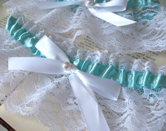 Sweet Nothings | White Wedding Garter, Mint Satin and White Lace with Satin Bow and Pearl, Bridal Lingerie - Ready to Ship