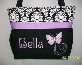 PURPLE Butterfly... Diaper Bag Tote... Dandy  DAMASK .. Bottle Pockets