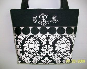 DAMASK...  Black and White  ...  Medium Size TOTE .. Handbag ... Monogramming is FREE