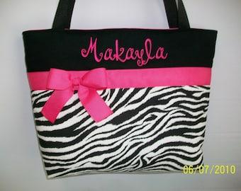 Hot Pink  Accents .. ZEBRA  Print ... Tote .... Diaper  Bag ... Personalized FREE