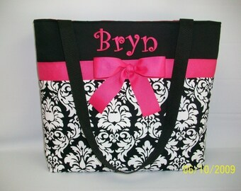 Black DAMASK Tote ...  PINK Accents ...  Personalized DIAPER Bag .. Personalized  Free