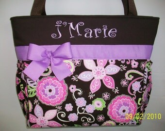 BOHO Blossom Purple .. Diaper Bag...Outside  Bottle POCKETS  ....Monogramming is FREE
