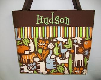 Jungle ... Zoo  Diaper Bag ... JUNGLE ... Chocolate ... Tote ... Monogrammed FREE