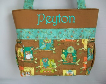 Tree Hugger  OWLs ...  DIAPER Bag .. BOTTLE POCKETS ...Personalized Free ...