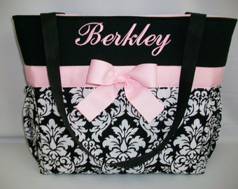 Black DAMASK... Baby  PINK Accents ... ZIPPER Closure  Personalized Diaper  Bag .. Bottle Pockets