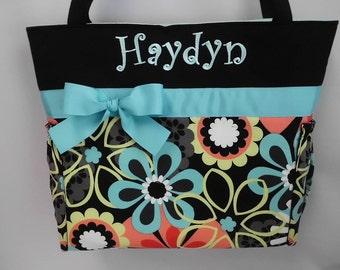 Floral Aqua  .. Diaper Bag .. Bottle Pockets .. Monogrammed Free