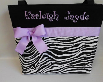ZEBRA Print  ...  LAVENDER Accent Diaper  Bag  .. Tote ... Personalized Free