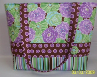 READY to SHiP ... URBaN Garden PURPLE Floral and Stripe...Large Tote ... Diaper bag