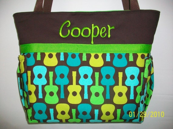 Reserved for chelseajarvis...Groovy GUITARS ... Zipper closure  Blue Green Personalized DIAPER Bag ...  TOTE ...  Bottle Pockets