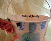 Shabby Chic with Vintage Image Pink Tin Pail