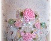 White Battenburg Lace HEART SACHET Pink Cottage Roses and Beading GIFT
