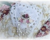 NEW Mauve Rose Pearls Battenburg Lace Ribbon Heart Sachet