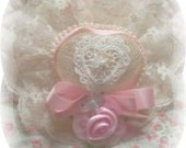 Lovely Victorian Pink Rose Heart NIGHT LIGHT Decorative Hat with Pink Ribbon Bow GIFT