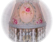 Aqua Romantic Cameo Victorian Cottage CHIC Pink Roses with Long Blue Beaded Fringe Night Light